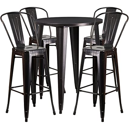 Brilliant Flash Furniture 30 Round Black Antique Gold Metal Indoor Outdoor Bar Table Set With 4 Cafe Stools Download Free Architecture Designs Rallybritishbridgeorg