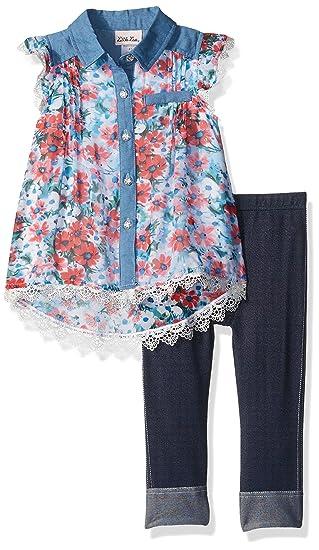 5212dfee6c5e Little Lass Baby Toddler Girls' 2 Piece Fashion Capri Set, Coral, ...