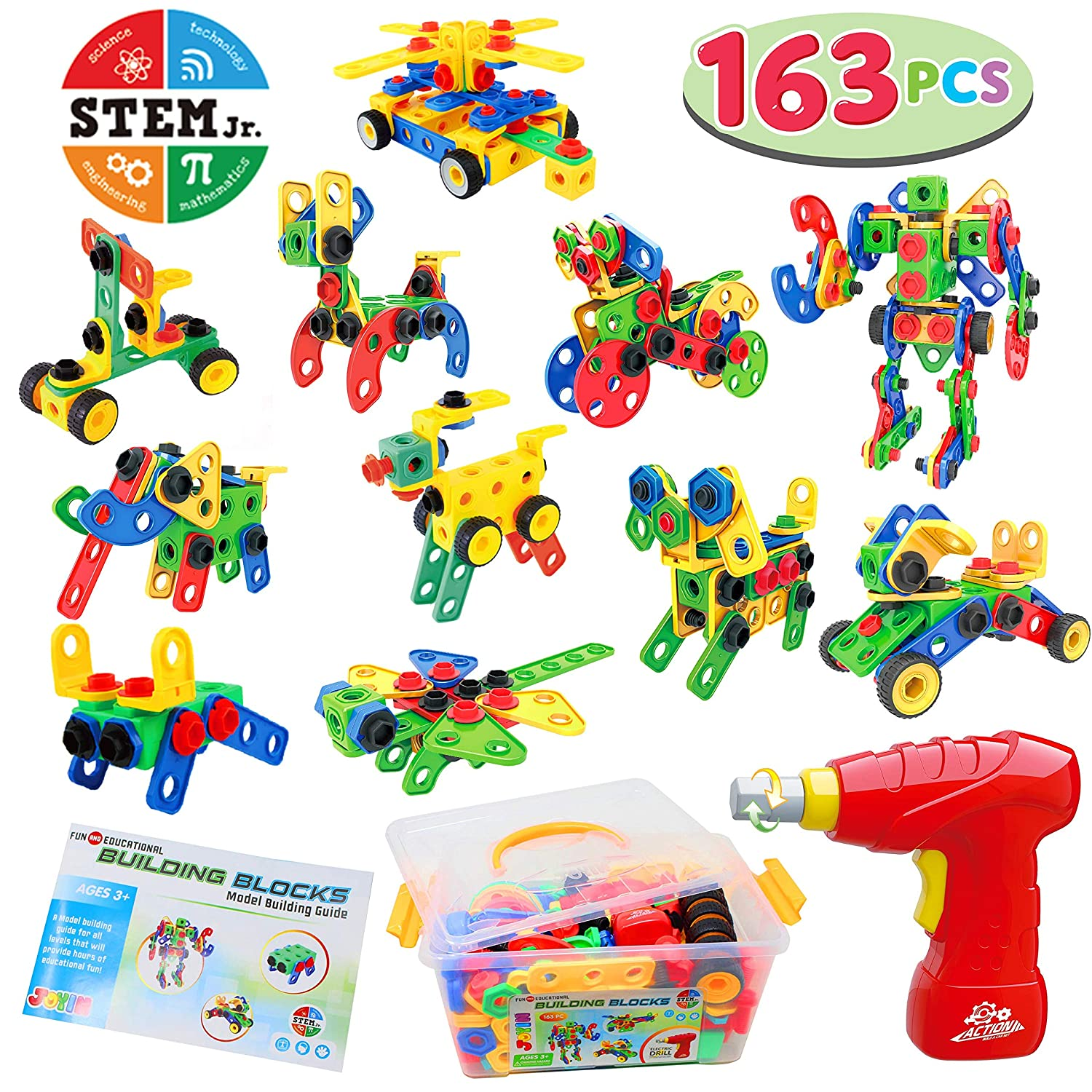 JOYIN 163 Pcs STEM Toys Kit with Electric Drill and Storage Box Set Educational Construction Engineering Building Block Creative Game Toy for Ages 3+ Year Old Boys & Girls