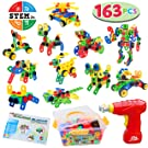 JOYIN 163 Pcs Educational Construction Engineering Building Block Creative Game Engineering Educational STEM Toy Learning Set with Electric Drill and Storage Box