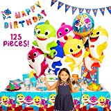 Baby Little Shark Party Supplies - 125Pc Birthday Decor Set - By: Momma Sharks - Decorations and Supplies Include Favors…