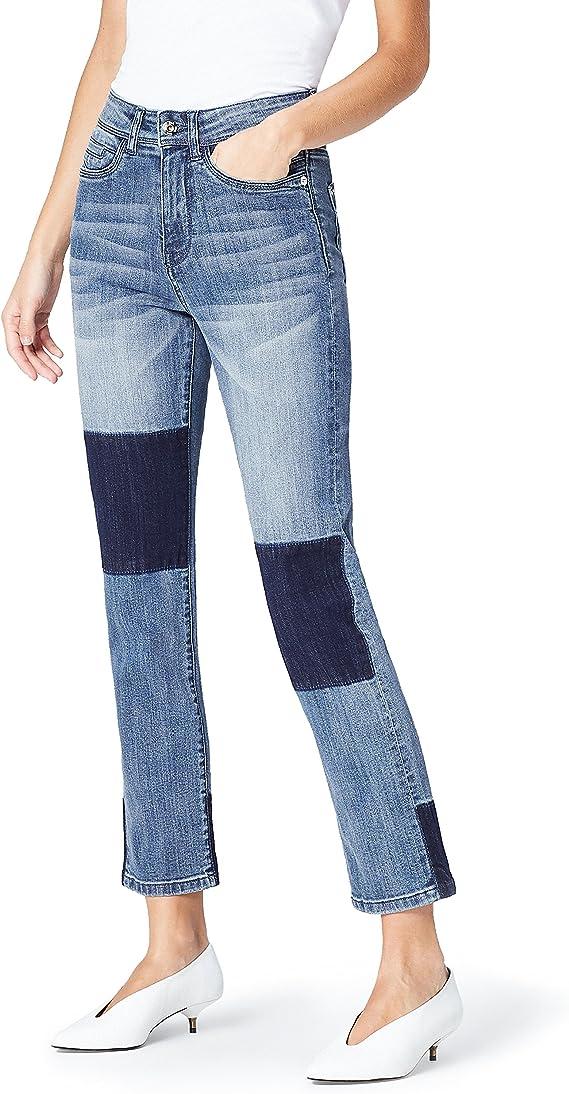 Amazon Brand - find Women's Straight Leg High Rise Patchwork Jeans Denim Fashion