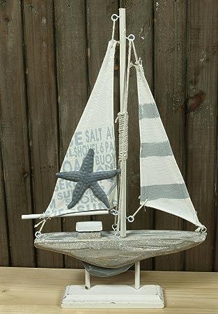 Segelboot zur Dekoration 20 x 15 x 3 cm Holz Textil