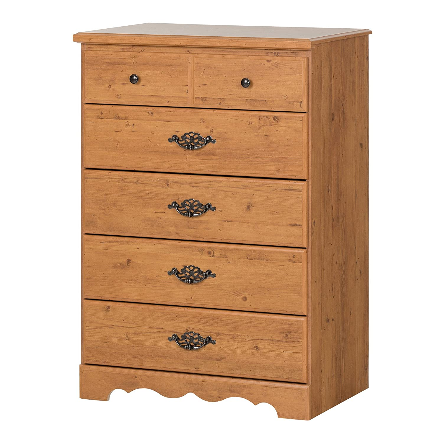 South Shore Prairie 5-Drawer Dresser, Country Pine with Metal Handles and Knobs 3232035 5204