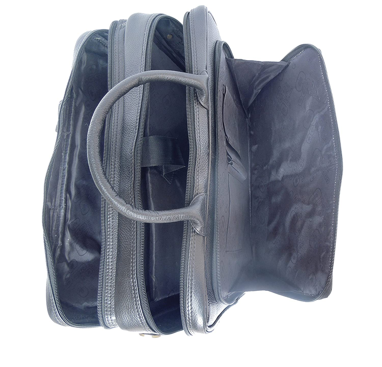 Spice Art Unisex Pure Leather Black Portfolio Bag