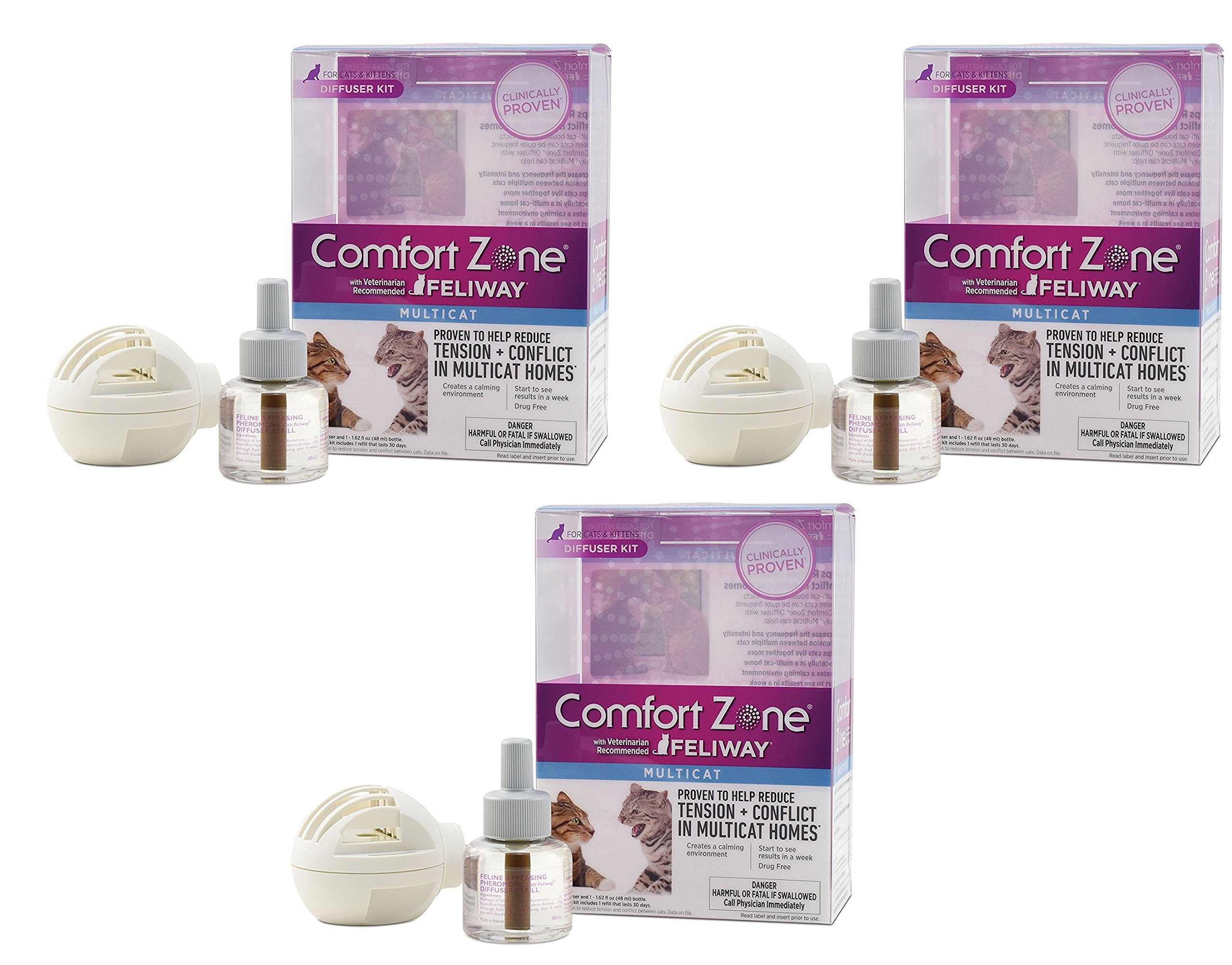 (3 Pack) Comfort Zone Feliway Multicat Diffuser and Refills