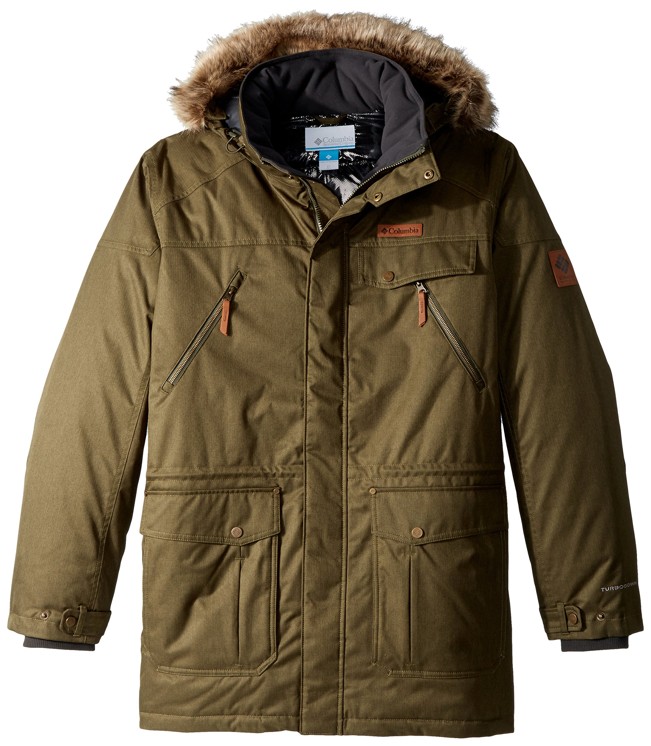 Columbia Men's Tall Barlow Pass 550 Turbodown Jacket, Large/Tall, Peat Moss