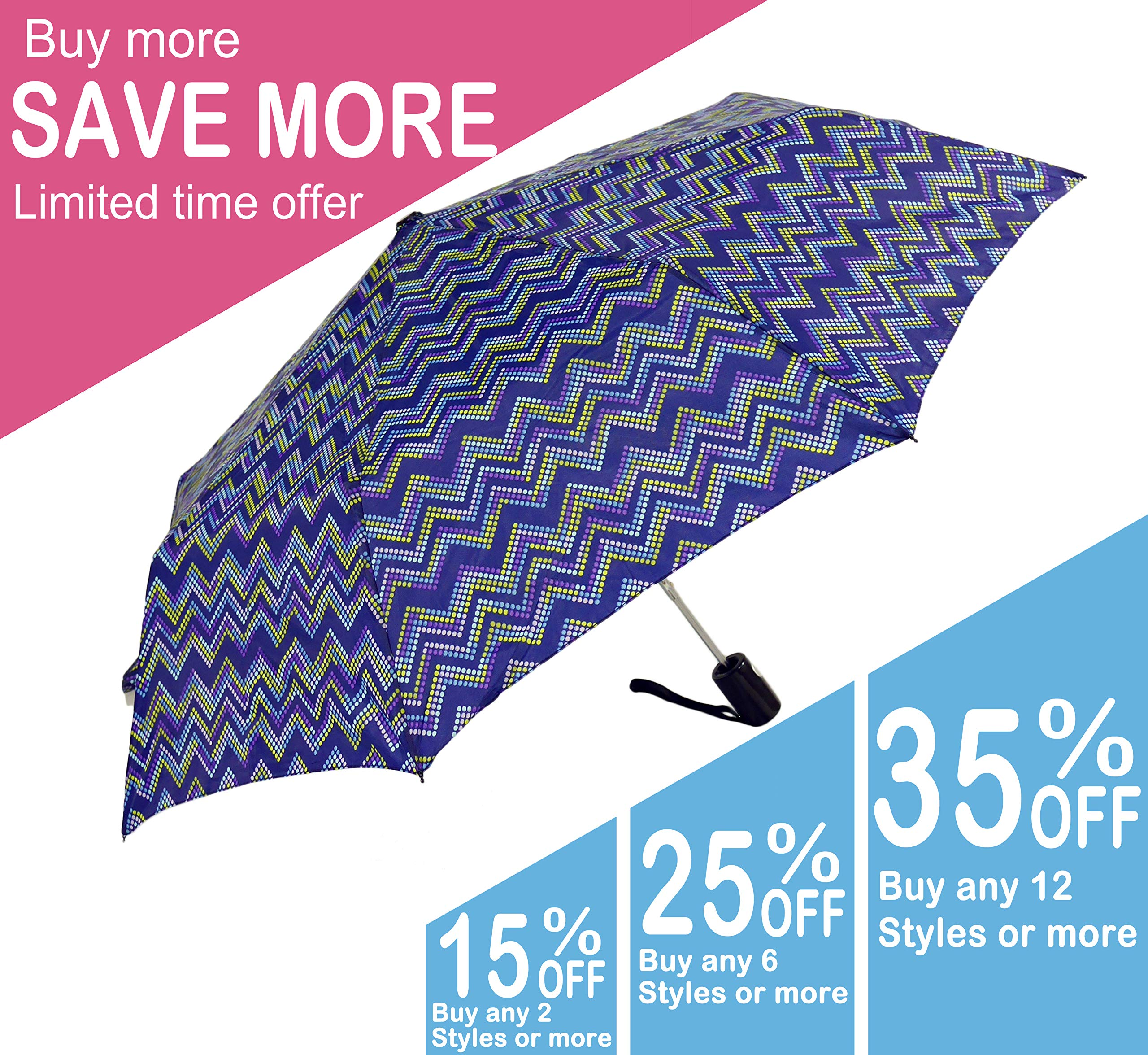 KUD 42 inch Compact Lightweight Auto-open umbrella (Multicolored D)