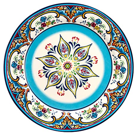 Euro Ceramica Zanzibar Collection Vibrant 10.9u0026quot; Ceramic Dinner Plates Set of 4 Spanish  sc 1 st  Amazon.com & Amazon.com | Euro Ceramica Zanzibar Collection Vibrant 10.9