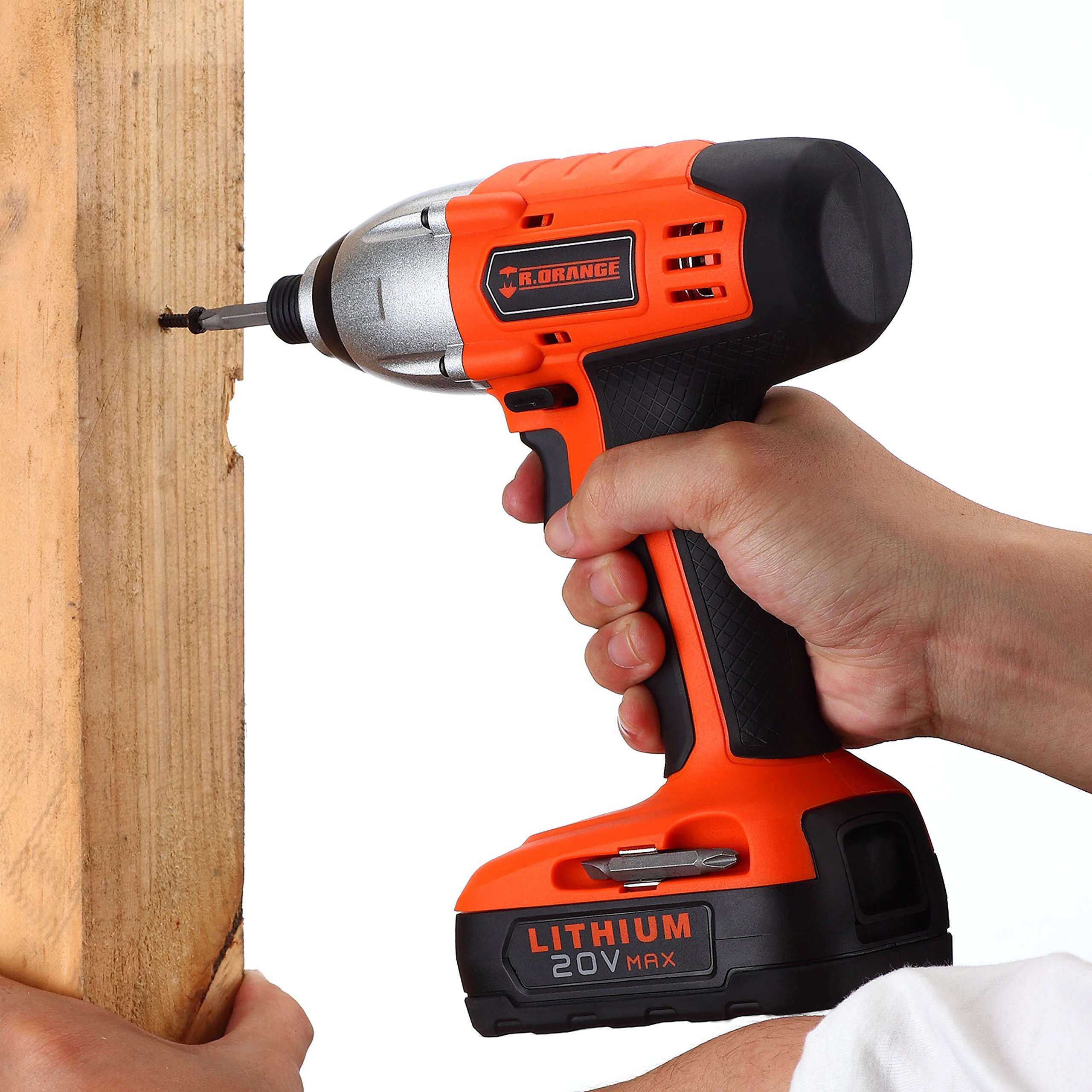 Mr.Orange 1/4 Inch 20V Lithium-Ion Cordless Impact Driver Kit with Quick Charger and Battery Includes Durable Gloves 2 pcs socket driver bits and Soft Tool Bag by Mr.Orange (Image #7)