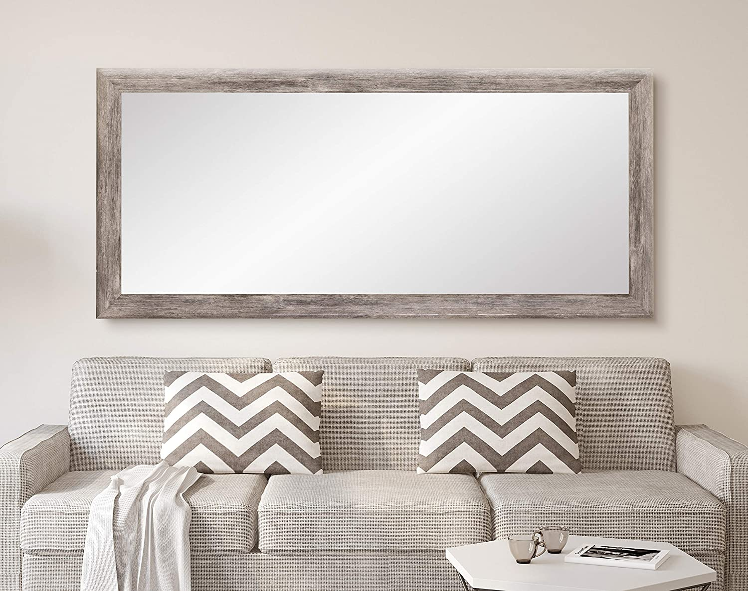 BrandtWorks Barn Wood Full Length Floor Vanity Wall Mirror, 33 x 67, Gray BM035TS