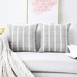 Home Brilliant Checker Plaid Decorative Throw Pillow Covers Set of 2 Linen Blend Cushion Cover for Sofa, 18 x 18 inches(45x45cm), Light Grey