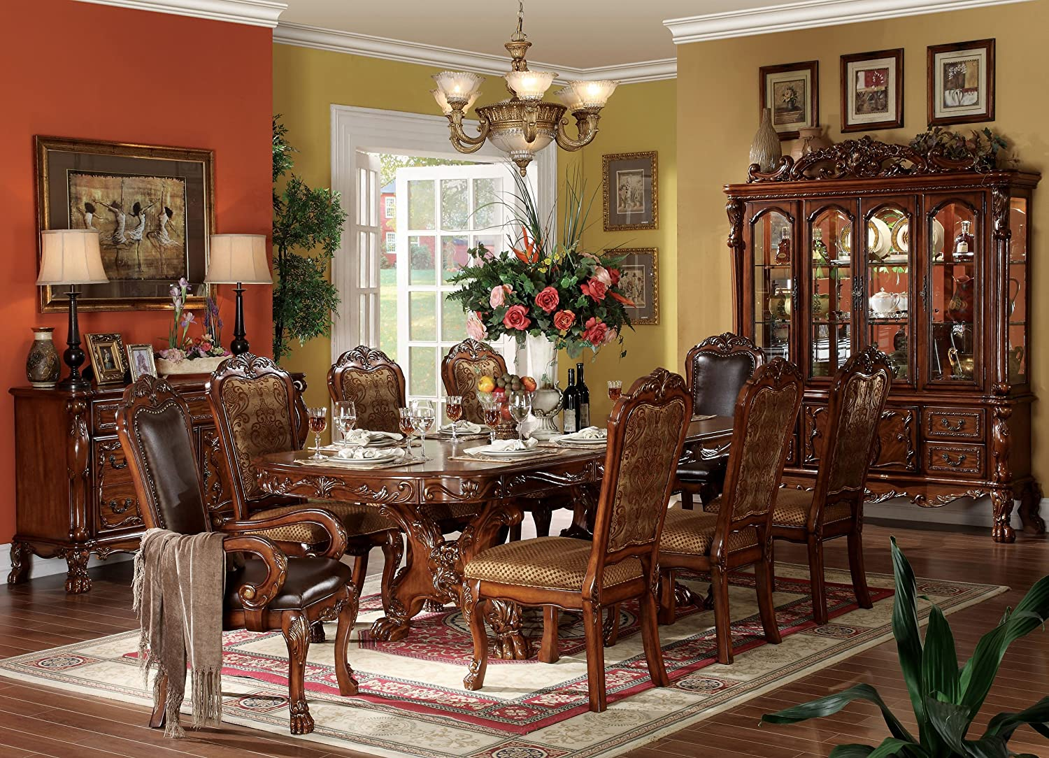 Amazon.com   ACME Dresden Cherry Oak Dining Table With Double Pedestals    China Cabinets