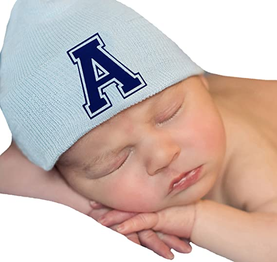 Melondipity Blue Hat with Royal Blue Flocked Initial Letter - Newborn Boy  Hat (A) ccff8af7eb63