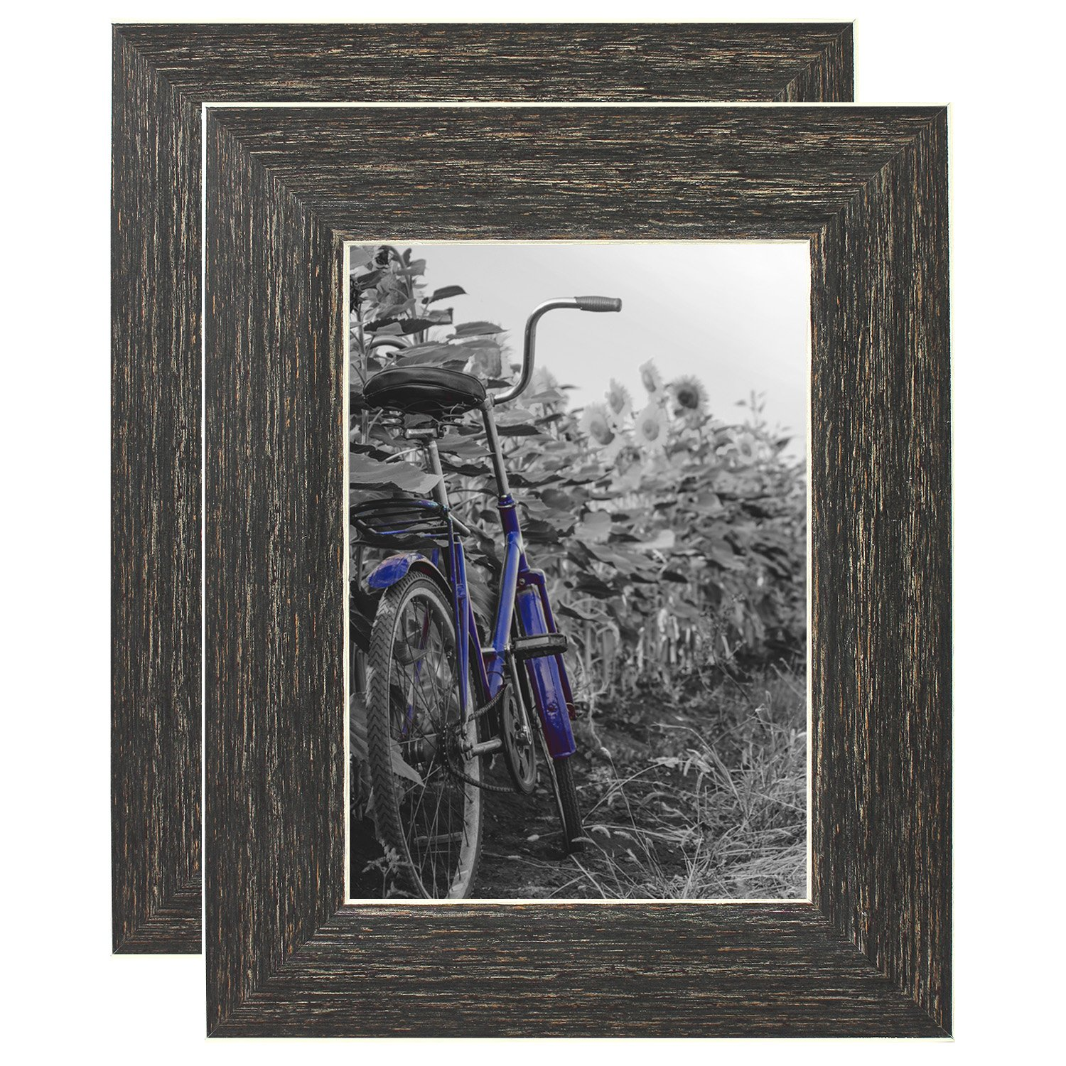 Americanflat 2 Pack - 5x7 Barnwood Rustic Style Picture Frames - Built-in Easels - Wall Display - Tabletop Display by Americanflat