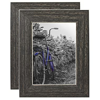 Americanflat 2 Pack - 5x7 Barnwood Rustic Style Picture Frames - Built-in Easels - Wall Display - Tabletop Display