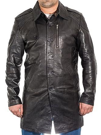 Negro para hombre de cuero real de tres Escudo trimestre del foso. Abrigo largo con estilo.: Amazon.es: Ropa y accesorios