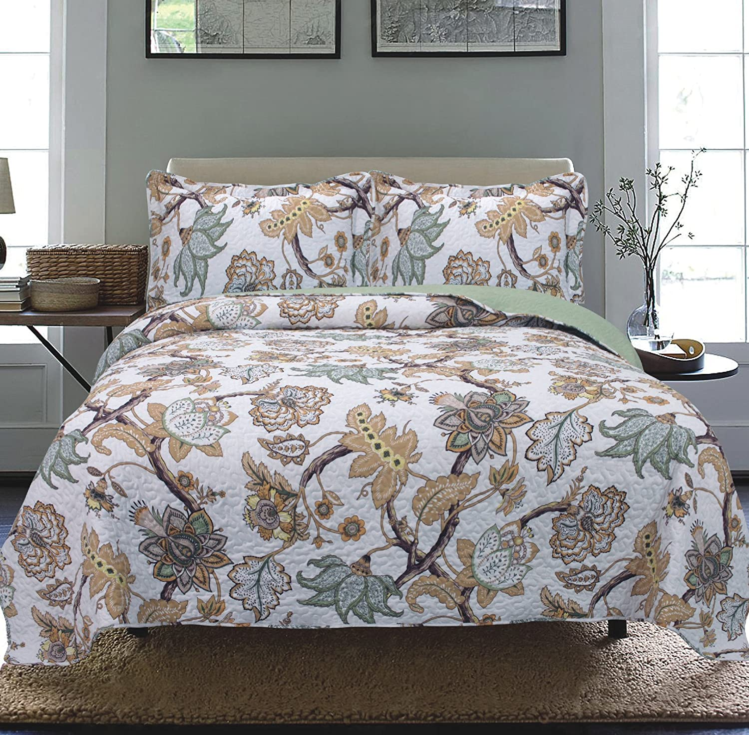modern floral bedspread coverlet (cal king. all american collection comforters with more – ease bedding with style