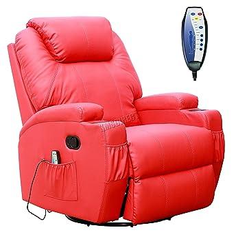 FoxHunter - Sillón reclinable de masajes, con función de calor y portavasos, de piel, giratorio, color rojo: Amazon.es: Hogar