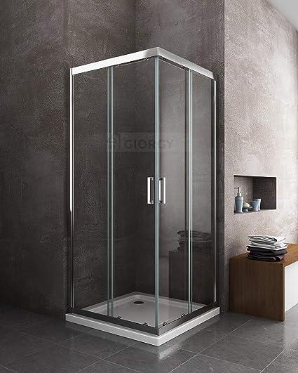 Cabina de ducha o baño cuadrada, 80 x 80 cm, placa de cromo ...