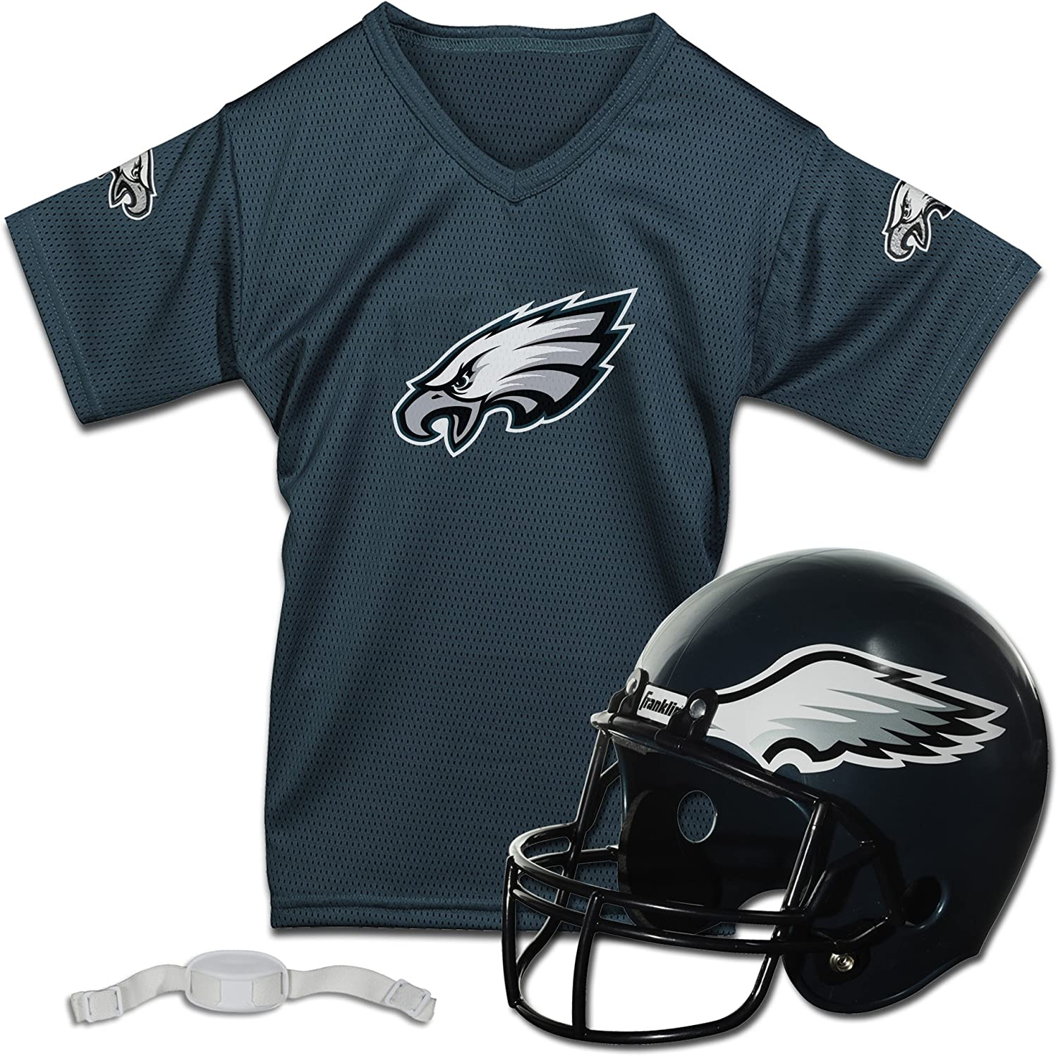 Franklin Sports Philadelphia Eagles Kids Football Helmet and Jersey Set - NFL Youth Football Uniform Costume - Helmet, Jersey, Chinstrap - Youth M