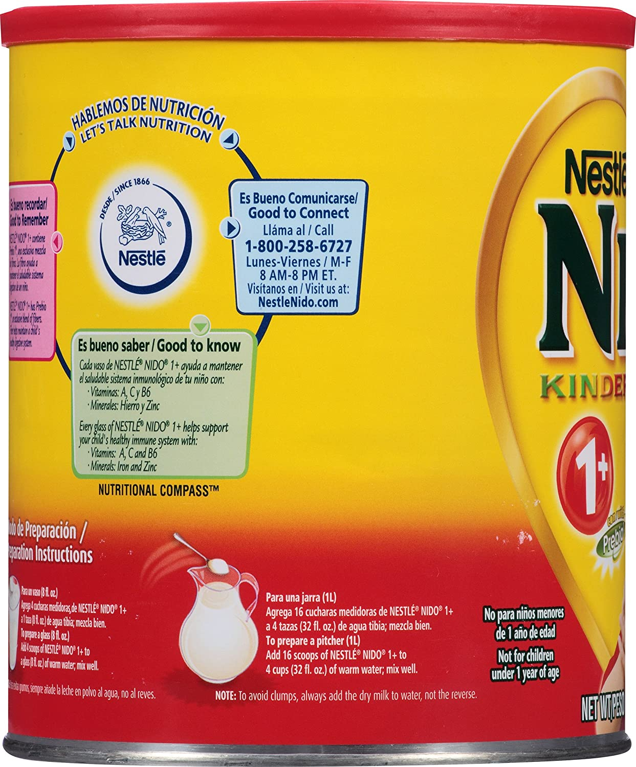 Amazon.com: NESTLE NIDO Kinder 1+ Powdered Milk Beverage 1.76 lb. Canister: Prime Pantry