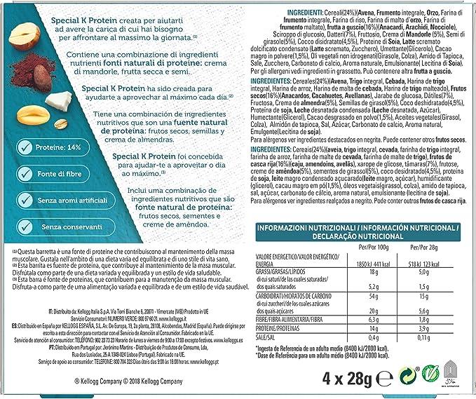 Kelloggs Special K Protein Barritas, Pack de 4 x 28g