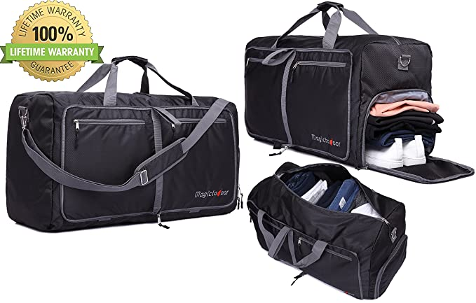 e0699a3ad 85L Foldable Travel Duffel Bag Lightweight Carry-on w\ Shoes Compartment Memory  Foam Shoulder