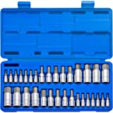 Neiko 10288A Master Hex Bit Socket Set, 32 Piece | S2 Steel Machined Bits | Standard SAE and Metric Sized Sockets | 1/4…