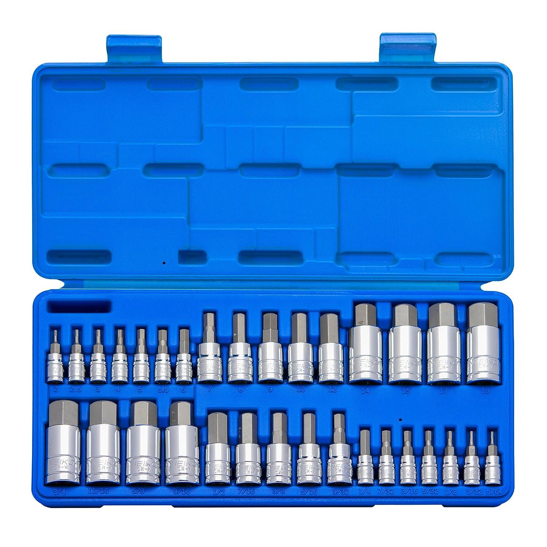 Neiko 10288A Hex Allen Bit Socket Set, SAE and Metric, S2 Steel 32-Piece Ridgerock Tools Inc