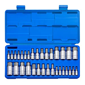 Neiko 10288A Master Hex Bit Socket Set, S2 Steel | 32-Piece Set | SAE and Metric