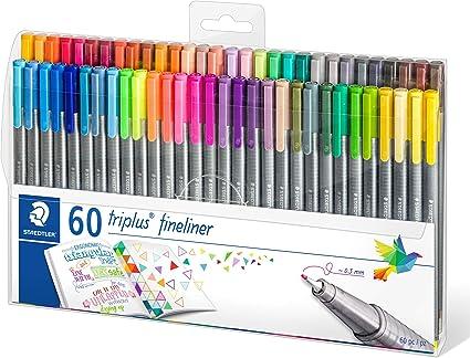 Staedtler 334 TB60. Rotuladores Triplus Fineliner. Estuche con 60 marcadores de colores variados.: Amazon.es: Oficina y papelería