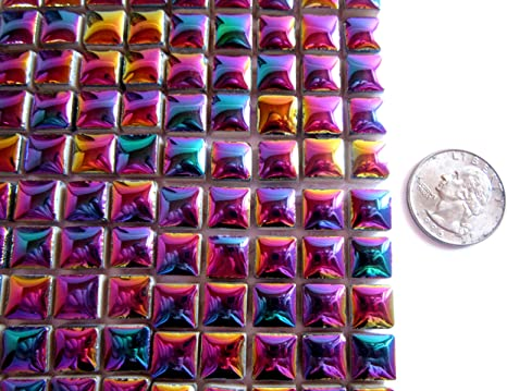 Mixed Color 10x10x4mm SUPERFINDINGS 282pcs Square Glitter Glass Mosaic Tiles Cabochons Shine Crystal Mosaic Glass Pieces Bulk Assorted for Home Decoration or DIY Crafts