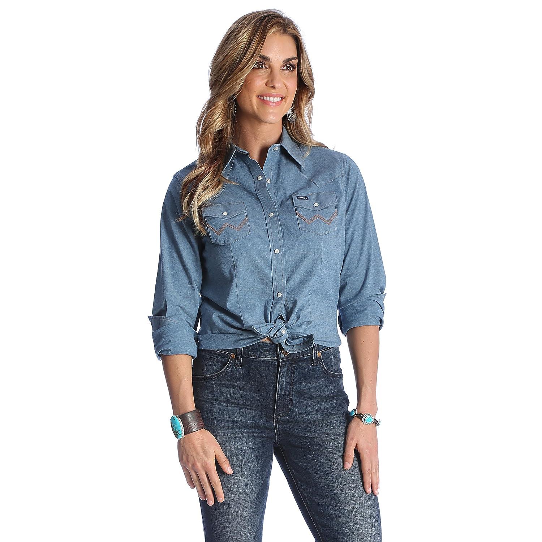 7bf0e9f45d7 Wrangler Women s Long Sleeve Western Snap Work Shirt at Amazon Women s  Clothing store