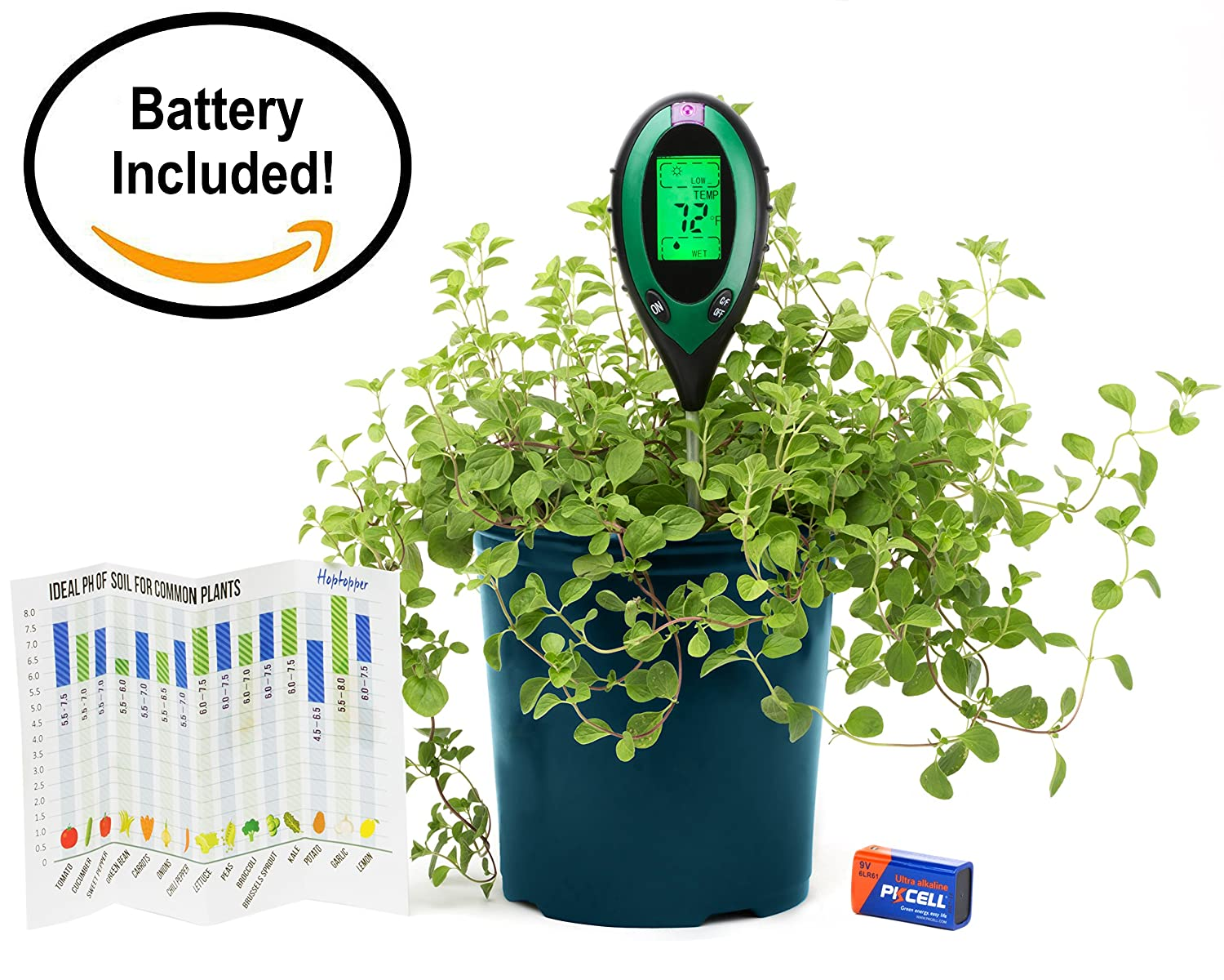 4 in 1 Soil Moisture Meter Battery Included PH/Moisture/Temperature/Sunlight Tester Indoor/Outdoor Gardening Tool Kit For Plants With Battery By Hoptopper …