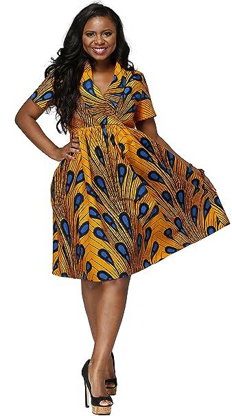 Shenbolen Women Dress Traditional African Dashiki Casual Skirt Party Dresses  (XXX-Large 9893ce0a7406