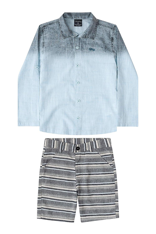 5dd3e66767 Conjunto Camisa Em Tecido E Bermuda Em Tecido Listrado Infantil Quimby   Amazon.com.br  Amazon Moda