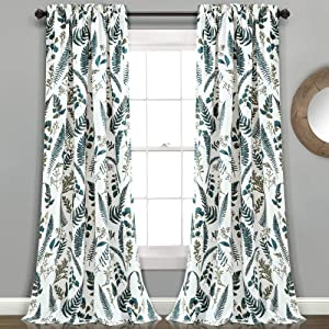 "Lush Decor White-and-Green Devonia Room-Darkening Window Curtain Set, 84"" x 52"""