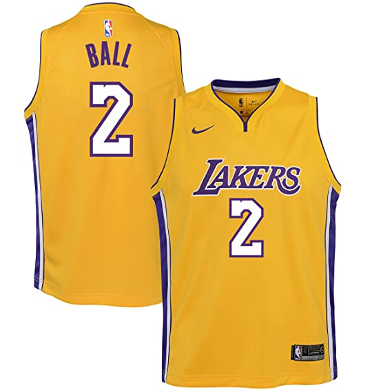 Nike NBA Los Angeles Lakers Lonzo Ball 2 2017 2018 Icon Edition Jersey Official, Camiseta de Niño: Amazon.es: Ropa y accesorios
