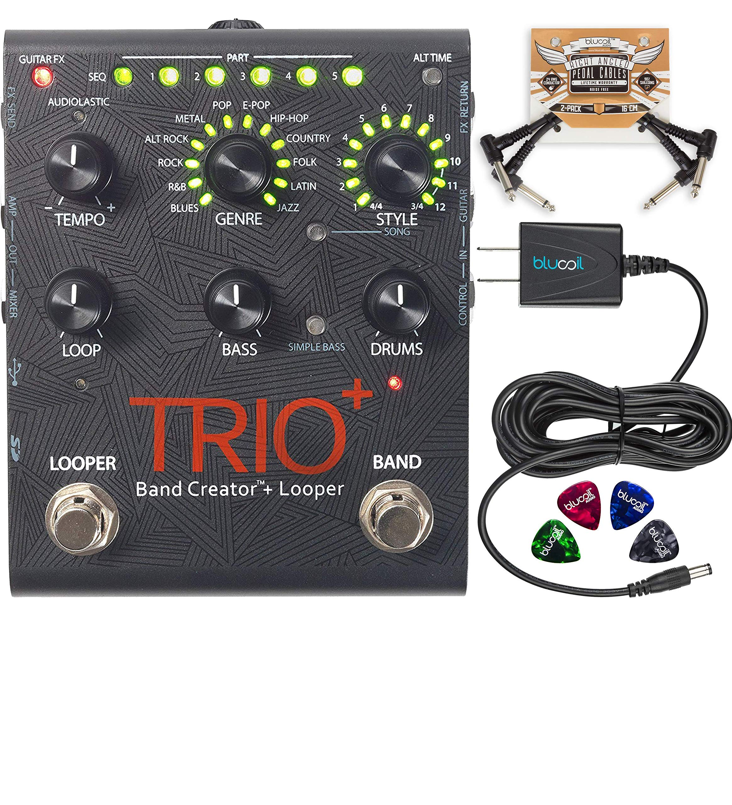 digitech trio plus looper band creator effects pedal with usb connection bundle with blucoil. Black Bedroom Furniture Sets. Home Design Ideas