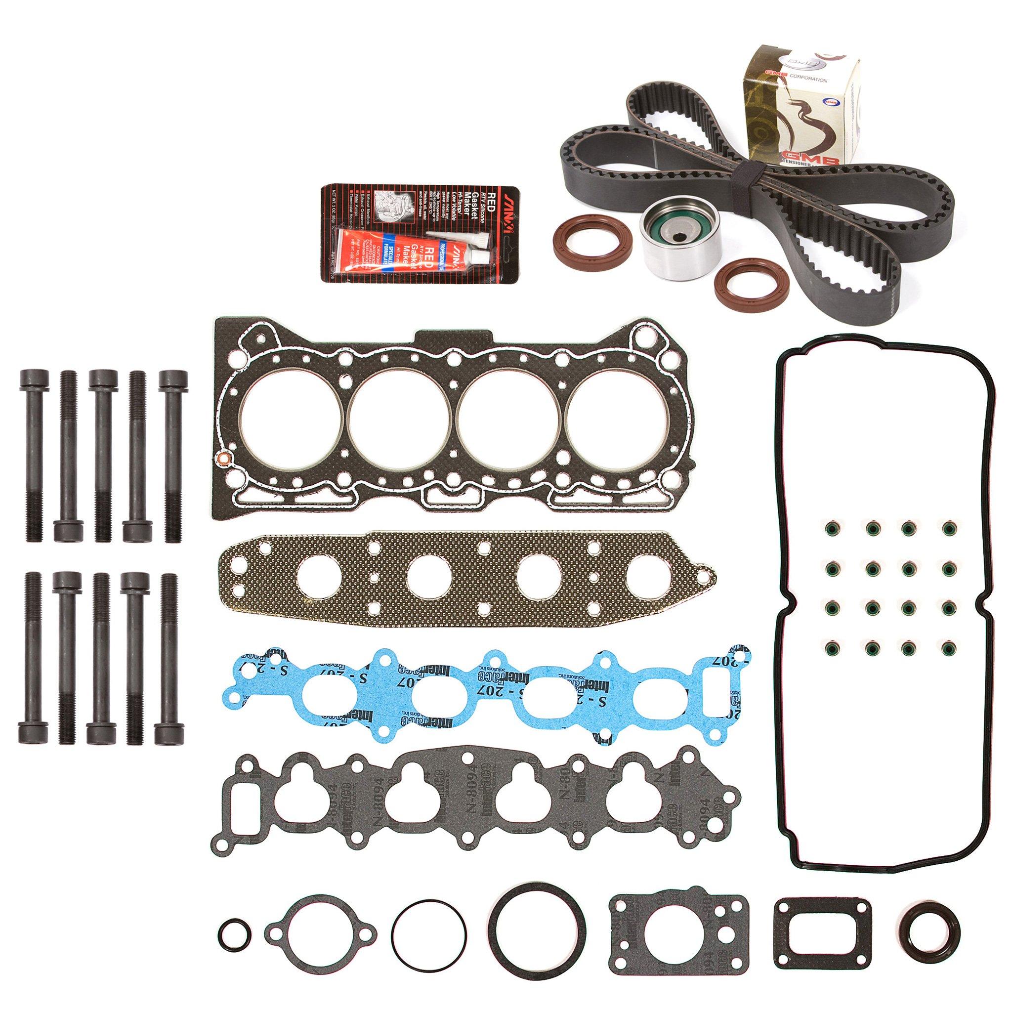 Evergreen HSHBTBK8008 Head Gasket Set Head Bolts Timing Belt Kit 92-01 Geo Suzuki Chevrolet 1.6 G16KV