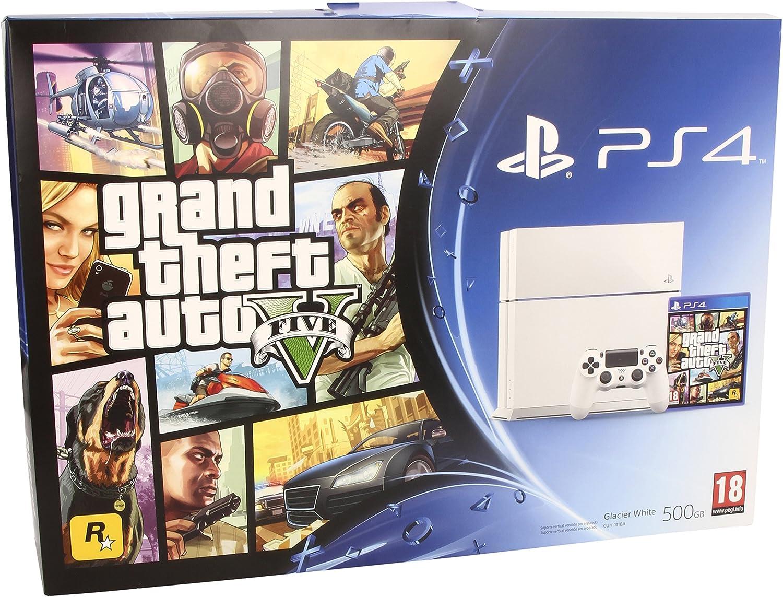 PlayStation 4 - Consola, Color Blanco + Grand Theft Auto V: Amazon.es: Videojuegos