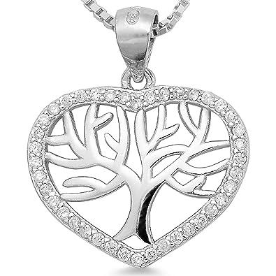 925 Silber Lebensbaum Kette   Kettenanhänger Baum Zirkonia rhodiniert -  Damen Schmuck Anhänger Collier 40 45 50 55cm - Weltenbaum mit Venezianer  Kette  1720 ... ad9ac9617f