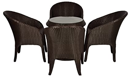 FurniFuture™ Lamp Outdoor Patio Furniture 4 Chairs and Table Set - (Brown)