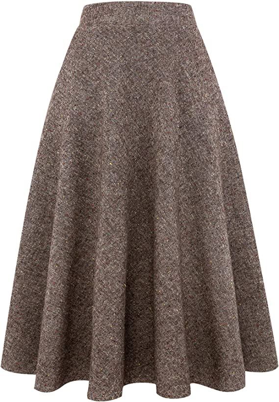 1940s Teenage Fashion: Girls IDEALSANXUN Womens High Elastic Waist Maxi Skirt A-line Plaid Winter Warm Flare Long Skirt $39.99 AT vintagedancer.com