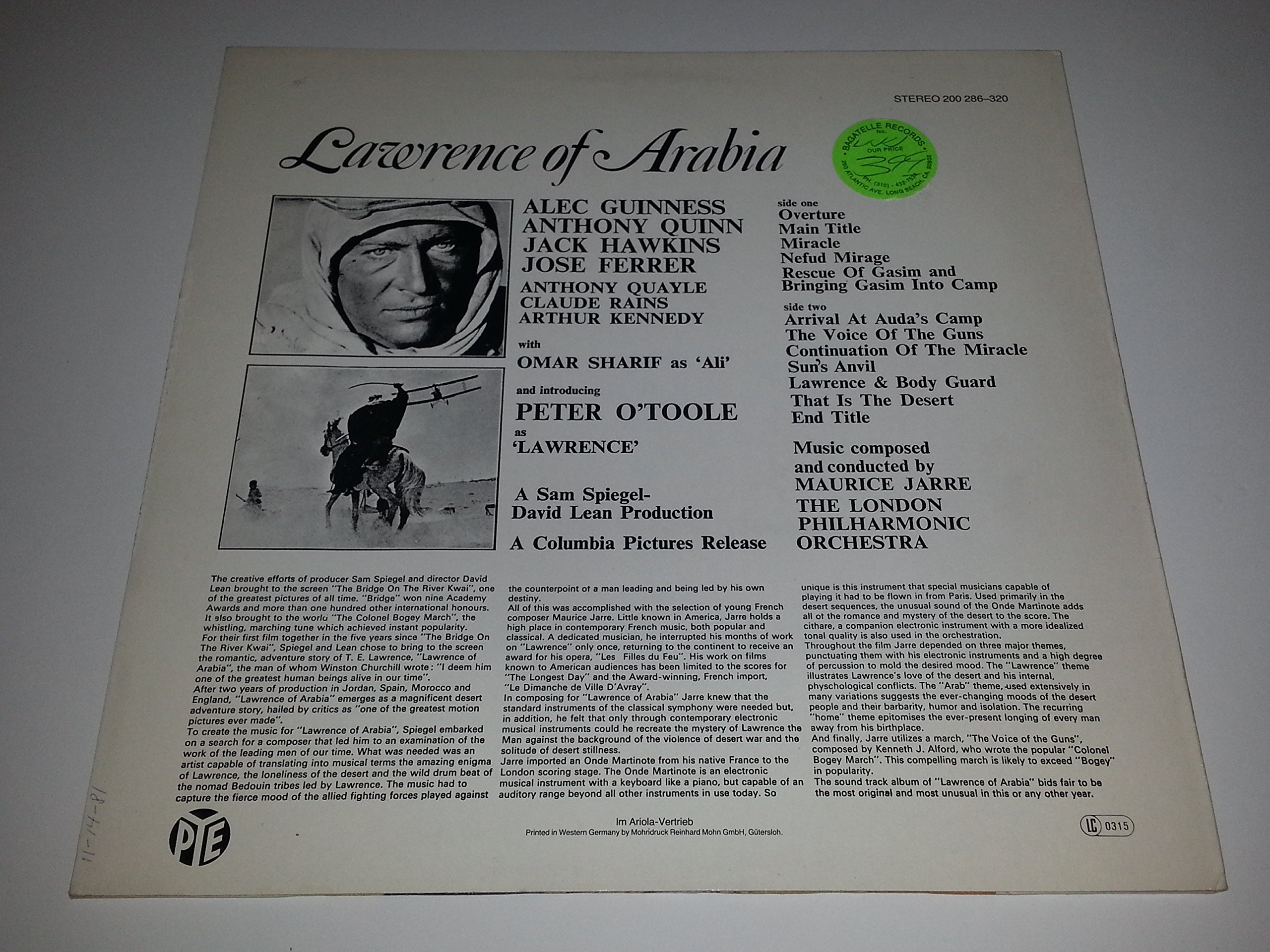 Lawrence of Arabia - Original Soundtrack Recording by Colpix Records