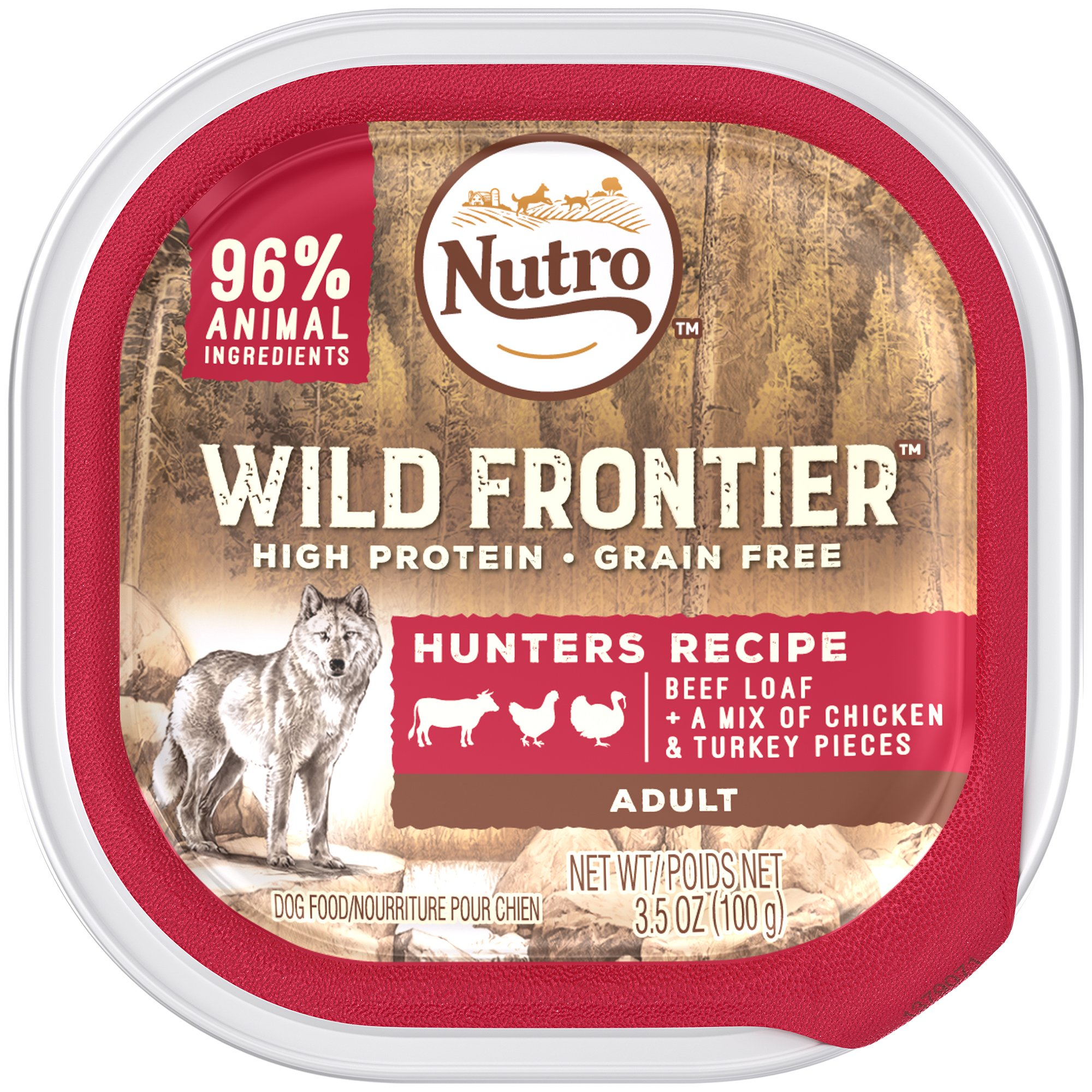 DISCONTINUED: NUTRO Wild Frontier Hunters Recipe Beef Loaf With a Mix of Chicken and Turkey Pieces Dog Food Trays 3.5 Ounces (Pack of 24) by Wild Frontier Wet Dog