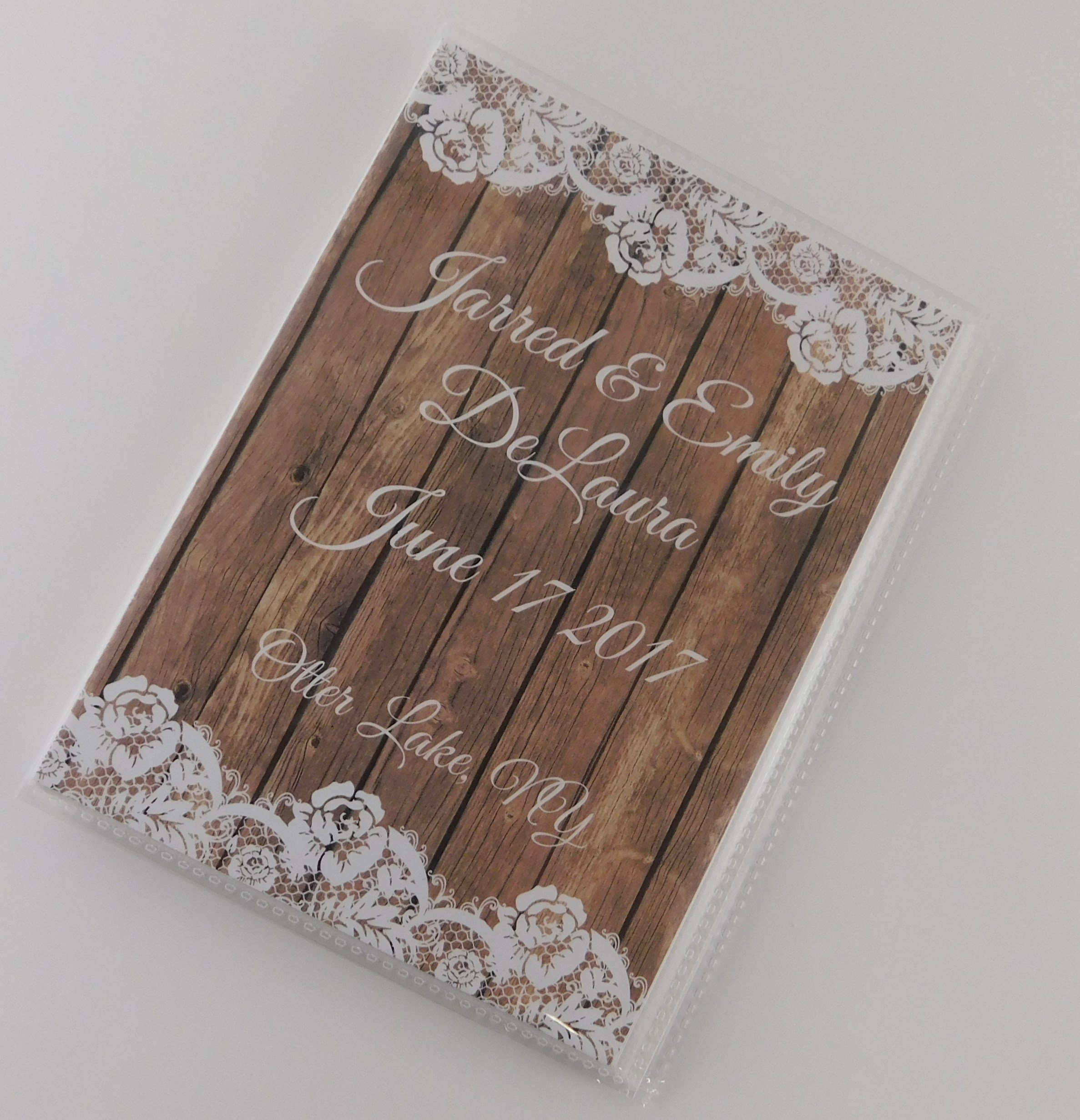 Wedding Photo Album IA#756 NOT REAL WOOD or Lace PRINTED 4x6 or 5x7 Pictures Rustic Bridal Shower Gift Engagement Anniversary