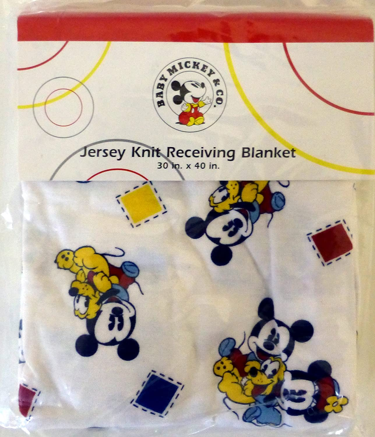 Disney Baby Mickey & Co. Jersey Knit Receiving Blanket Red Calliope