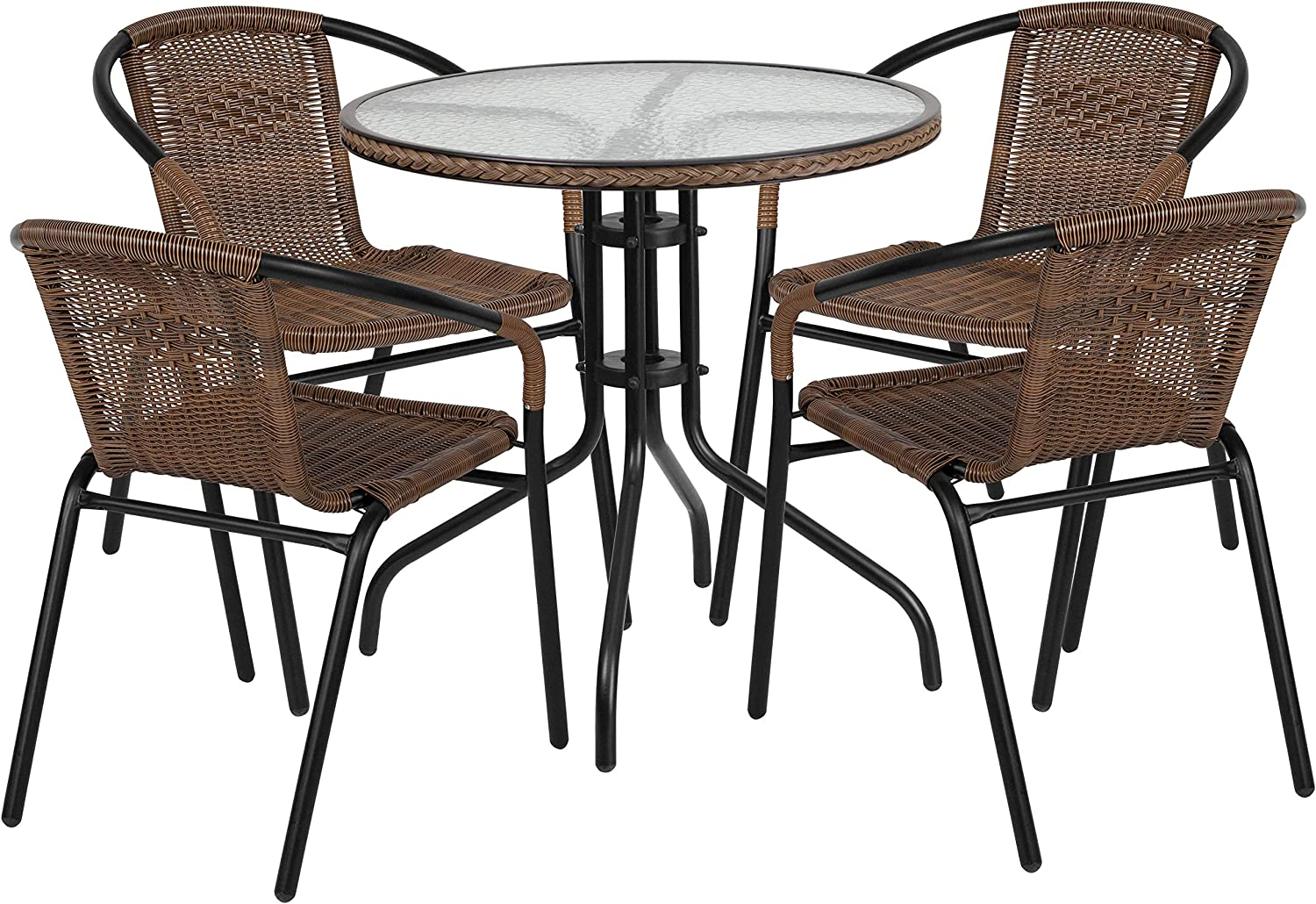Flash Furniture 28 Round Glass Metal Table with Dark Brown Rattan Edging and 4 Dark Brown Rattan Stack Chairs
